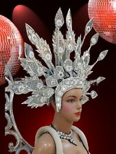 Elegant Iridescent Silver Accented Crystal Headdress With Leaf Like Structures
