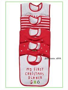 Baby Boys Girls Unisex My First Christmas Bib Set 5 Pack Xmas Slogan Bibs NEW