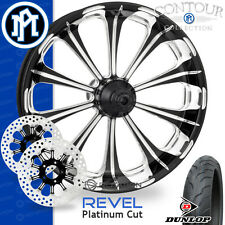Performance Machine Revel Platinum Cut Wheel Front Package Harley Touring 21""