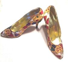 VTG 1980s Authentic Chanel Silk Jewel Print Shoes Pumps Heels SZ 40 USA 9