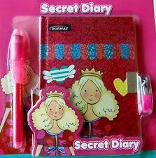 NEW Girl Lockable PRINCESS Diary Girls Secret Journal Lock UV Invisible Pen KIDS
