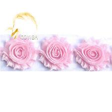 1 Yard Powder Pink Chiffon Shabby Rose Flowers Lace Trims Headband Bridal Dress
