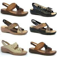 LADIES SANDALS WOMENS SUMMER COMFORT CASUAL WALKING FLAT WEDGE BEACH SHOES SIZE