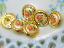 #932 Vintage Glass buttons Japan Button Flowers Limoges One of kind 3/4 NOS NEW