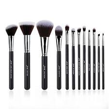 Jessup 12Pcs Synthetic Fiber Makeup Brushes Set Cosmetics Brush Tools Kits Black