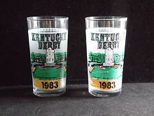 Pair Of Vintage 1983 Kentucky Derby Glass Tumblers Churchill Downs Libbey Glass
