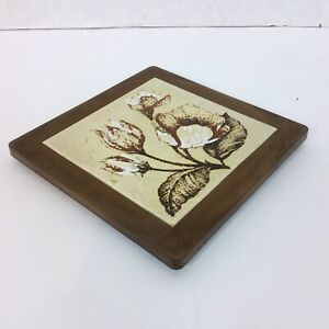 """Floral 7.75"""" Square Trivet Tile  Made In Italy Faux Wood Frame Flowers"""