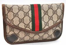 Authentic GUCCI Sherry Line Pouch GG PVC Leather Brown A2746