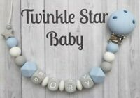 Full Silicone Personalised Dummy Clip Baby Boy Blue White Grey Christening Gift