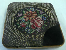 Stylish Antique Art Deco Tapestry Needlepoint Compact Mirror