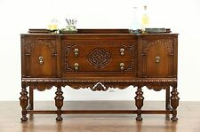 Tudor Design 1925 Antique Carved Oak Sideboard, Server or Buffet