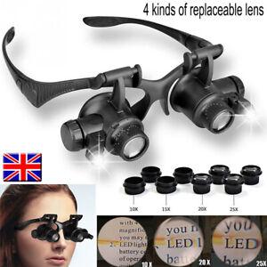 4 Times Binocular Magnifying Glass LED Light Jewelry Watch Repair Tool 10-25X