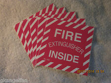 Lot Of 5 Fire Extinguisher Inside Self Adhesive Vinyl Signs4 X 4 New