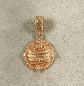 """Judith Ripka Sterling 14K Rose Gold Clad Diamonique """"C"""" Pendant Enhancer"""
