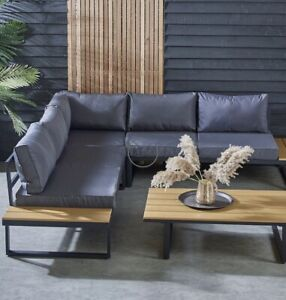 Garden Large 6 Seater Corner Steel Sofa Lounge Set Outdoor Ind Dining Furniture