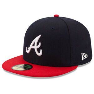 New Era 5950 Youth Atlanta Braves HOME Fitted Hat (Navy/Red) MLB Cap