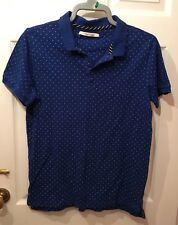 "MENS SHORT SLEEVED COLLARED TOP,""SIZE LARGE"" NAVY WITH SMALL WHITE SPOT.VGC."