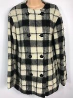 WOMENS FRENCH CONNECTION BLACK & CREAM CHECK BUTTON UP COAT JACKET SIZE UK 8