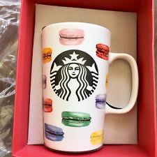 NIB Starbucks Coffee Cup 2015 Dot Collection French MACARONS Rainbow Mug 16oz