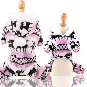 Cute Warm Fleece Pet Dog Jumpsuit Pajamas Clothes Puppy Cat Sweater Coat Costume