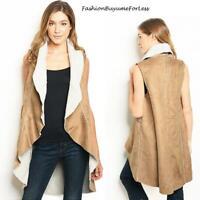 70s Hippy Faux Suede Lamb Shearling Sherpa Fleece Long Moto Vest Jacket S M L XL