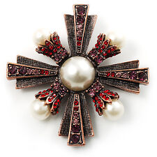 Precious Heirloom Imitation Pearl Cross Brooch (Copper Tone)