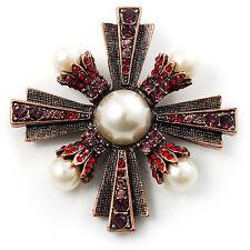 Precious Heirloom Imitation Pearl Cross Brooch (Copper Tone)