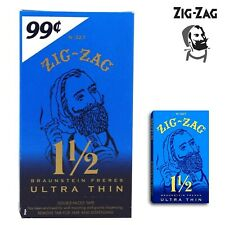 Full Box Zig Zag Ultra Thin 1 1/2 1.5 Rolling Papers 24 Booklet (32 Paper Each)