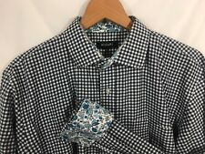Bogari Men's Button Down Shirt Size Large Flip Cuff Gingham Check Floral LS