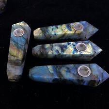 Natural labradorite Pipe w/Carb Hole Quartz Crystal point Wand 1pcs H102