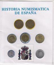 Historia de la peseta, colección de 7 monedas que circularon en España