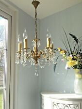 Beautiful✨ French Vintage Gilt Bronze Brass & Crystal Glass  5 Light Chandelier