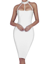 BCBG MaxAzria Bodycon Bandage Cocktail Dress Backless Halter White A121 **M