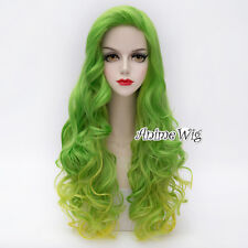 Women Long Green Mixed Yellow Curly Hair Lolita Halloween Cosplay Wig + Wig Cap