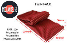 2x Large Light Red Acoustic Foam Rectangular Pyramid Tiles Studio Room Treatment