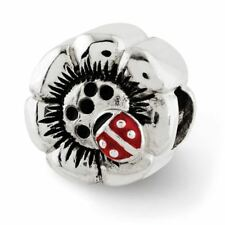 Sterling Silver Reflection Flower with Enameled Ladybug Bead Msrp $117