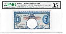 MALAYA BRITISH ADMINISTRATION 1941 ND(1945) $1 DOLLAR PMG PRINTER W&S BANKNOTE