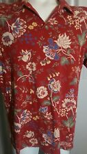 "vtg Polo Jeans RALPH LAUREN 48"" chest Red Floral Collared V-Neck Hawaiian Shirt"