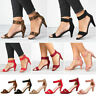 Womens Low Mid Kitten Heel Ankle Strap Sandals Summer Ladies Peep Toe Shoes Size