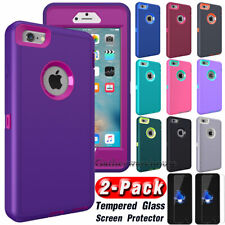 Heavy Duty Shockproof Case Cover For iPhone SE 5S 6 6s 7 8 Plus+Screen Protector