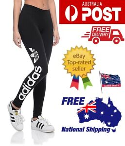 Adidas Originals Women Linear Trefoil Leggings Fitness Yoga Pants Activewear