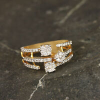 New Floral Diamond Cocktail Ring Designer Solid Pave 14K Yellow Gold Jewelry