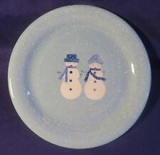 """2004 HOME Winter Frost Snowman Stoneware 11"""" Dinner Plate TARGET CORP Unused!"""
