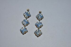 VINTAGE FACETED GLASS TRIPLE SQUARE DANGLES PENDANT BEADS 27mm BLUE GIVRE COLOR