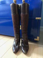 OSCAR DE LA RENTA Brown Calfskin & Suede Boots sz 37 US 6.5/7 ORIG $1195
