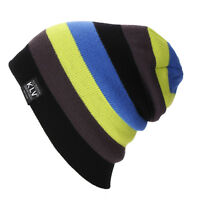 KLV Men Women Slouchy Knitted Beanie Hat Winter Warm Ski Colorful Stripe Cap Hat