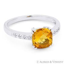 1.37ct Cushion Cut Citrine & Round Diamond Right Hand Ring in 14k White Gold