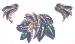 Vintage STATEMENT Enamel CRYSTAL Blue/Green CINER LEAF PIN & EARRINGS SET