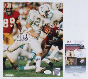 "Autographed ~Jim Kiick~ Signed Miami Dolphins 8x10 Football Photo ""17-0"" JSA COA"