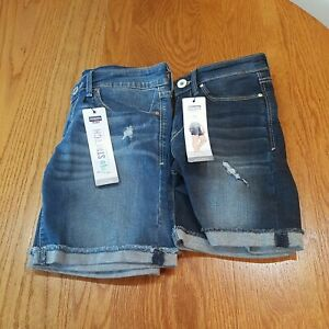 Denizen Levis Distressed Low Rise Boy Shorts dark blue 0/00 w24 light blue 7w28
